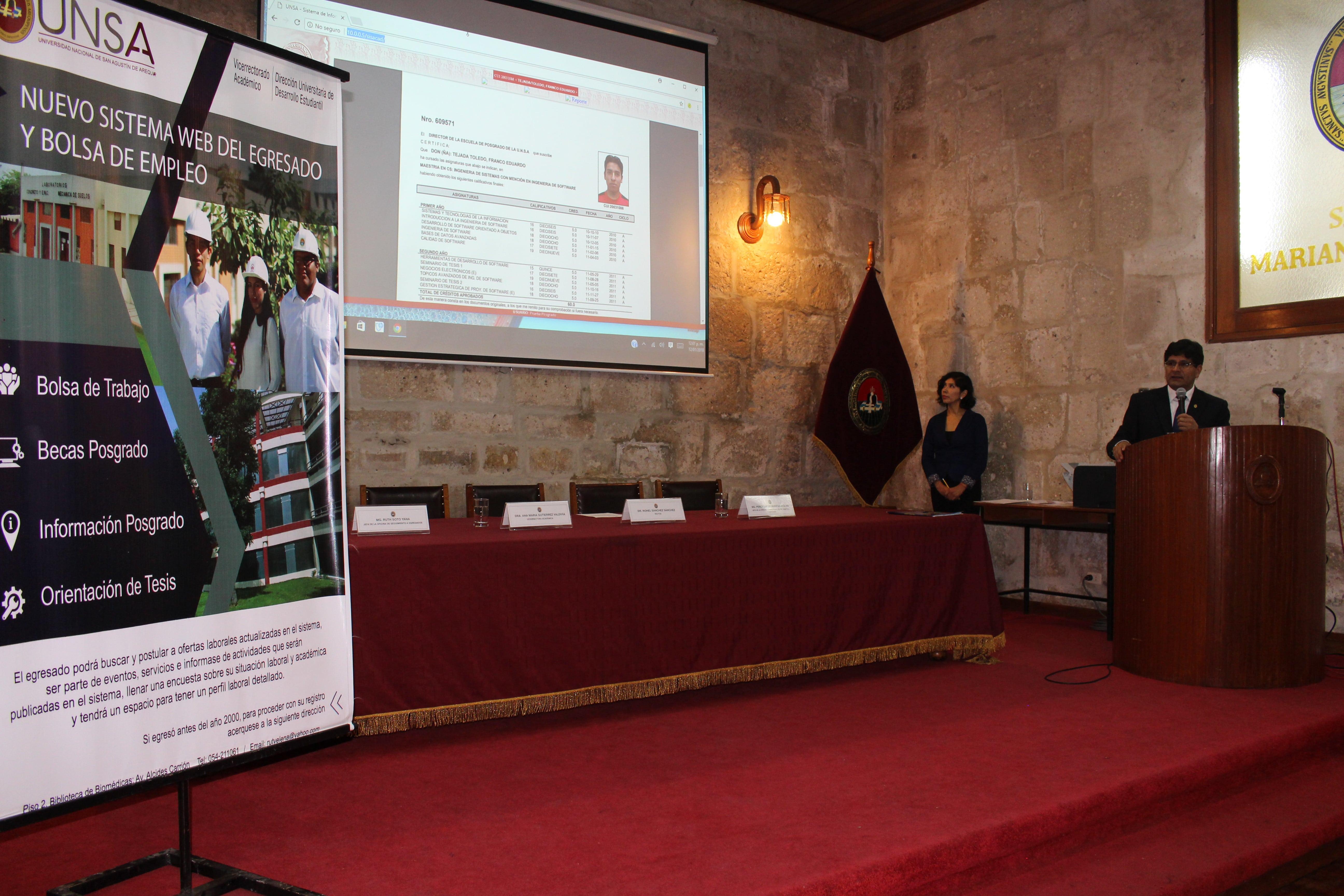 Unsa present sistema web del egresado y bolsa de empleo for Bolsa de trabajo oficinas de gobierno